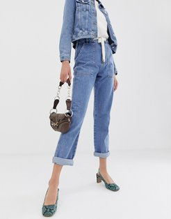 utility mom jeans in mid wash-Blue