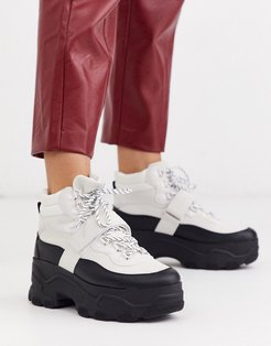chunky hiker boots in monochrome-White
