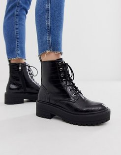 croc effect lace up chunky soled boots in black