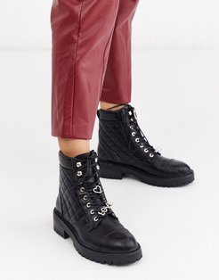 quilted lace front chunky boots in black