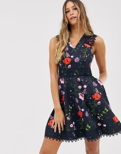 Mayo skater dress in hedgerow print-Navy