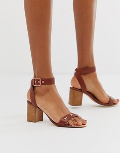 tan leather block heeled sandals with bow studding