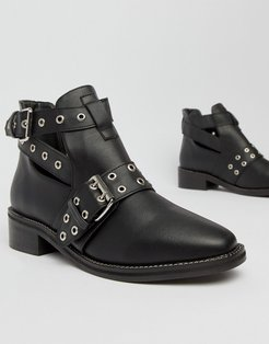 Flat Ankle Boots-Black
