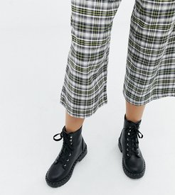 Wide Fit Chunky Flat Boots-Black
