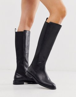 Amina black leather knee high flat boots