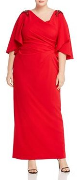 Embellished Ruched Gown