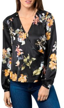 Printed Faux-Wrap Blouse