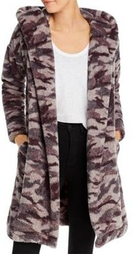 Camo-Print Faux Fur Hooded Cardigan