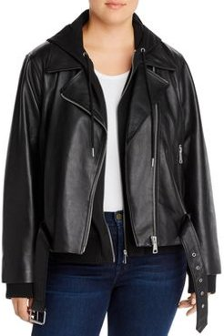 Leather Combo Hoodie Moto Jacket - 100% Exclusive