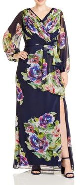 Ruched Floral-Print Gown