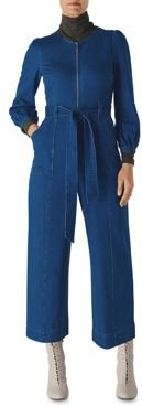 Zip-Up Denim Jumpsuit