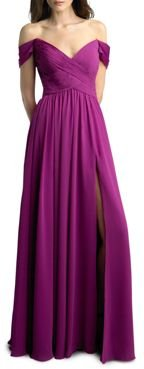 Off-the-Shoulder Pleated Gown - 100% Exclusive