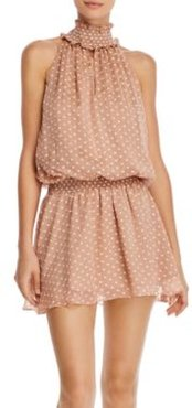 Kimmie Sleeveless Embroidered-Dot Mini Dress
