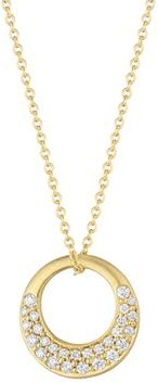 Diamond Pave Interlinks Pendant Necklace in Yellow Gold, 16