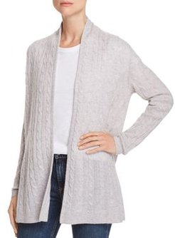 Open-Front Cable-Knit Cashmere Cardigan - 100% Exclusive