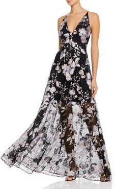 Floral-Embroidered Illusion Gown