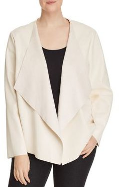 Faux-Leather Draped Open-Front Jacket