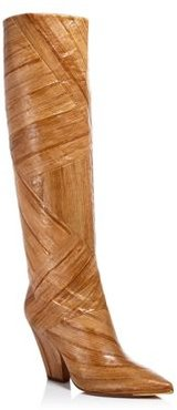 Lila Animal-Embossed Tall Boots