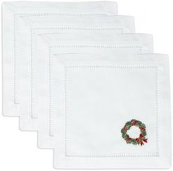 Holly Ribbon Wreath Cocktail Napkins, Set of 4