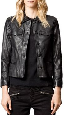 Liam Leather Button-Up Jacket
