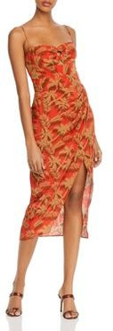 Palm-Print Silk Midi Dress
