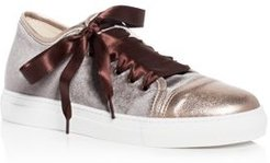 Nell Velvet Cap Toe Lace Up Sneakers