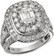 Diamond Mosaic & Double Halo Ring in 14K White Gold, 3.0 ct. t.w. - 100% Exclusive