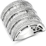 Diamond Channel-Set Baguette & Micro Pave Statement Ring in 14K White Gold, 3.0 ct. t.w. - 100% Exclusive
