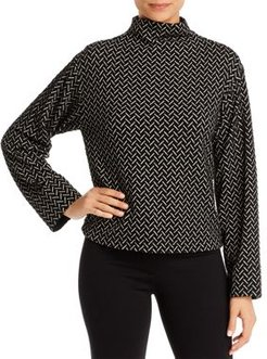 Emporio Armani Mock Neck Chevron-Jersey Top