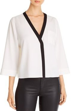 Emporio Armani Contrast-Color Trim V-Neck Blouse