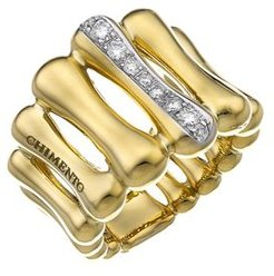 18K Yellow & White Gold Bamboo Over Collection Statement Ring with Diamonds