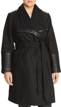 Faux Leather Trim Belted Coat