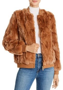 525 America Real Rabbit Fur Bomber Jacket - 100% Exclusive