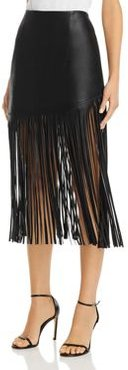 Bagatelle. nyc Fringed Faux Leather Midi Skirt