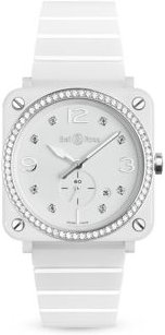 Br S White Ceramic Diamond Watch, 39mm