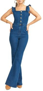 Rhea Ruffled Denim Jumpsuit