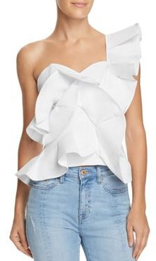 One-Shoulder Ruffled Cropped Top