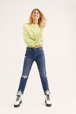 Chewed Up Mid-Rise Straight-Leg Jeans by Free People Denim
