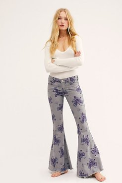 Denim Super Flare Printed Jeans by We The Free at Free People