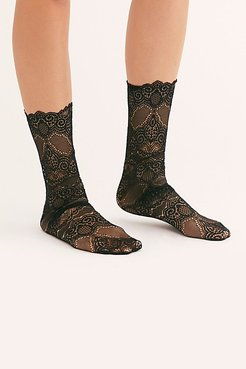 Scalloped Edge Lace Socks by High Heel Jungle at Free People
