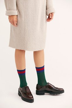 Varsity Metallic Tall Socks by High Heel Jungle at Free People