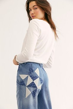 Down To Earth Patched Jeans at Free People Denim