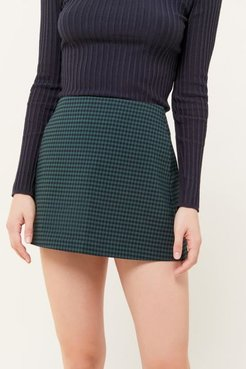 Gingham Side-Pocket Mini Skirt - Green Xs at Urban Outfitters