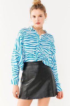 Bonjour Animal Print Button-Down Shirt - Blue S at Urban Outfitters
