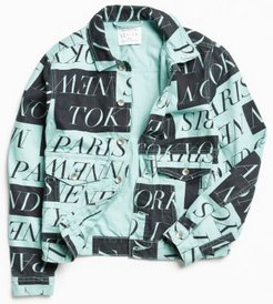 Cities Print Denim Trucker Jacket - Green M at Urban Outfitters