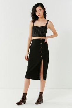 Button-Down Linen Midi Skirt - Black XS at Urban Outfitters