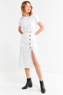 Button-Down Linen Midi Skirt - White XL at Urban Outfitters
