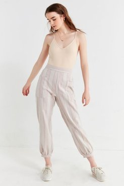 UO Willow Striped Cropped Pant - Beige M at Urban Outfitters