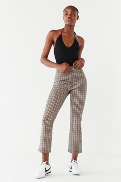 UO Leila Plaid Cropped Flare Pant - Pink 8 at Urban Outfitters