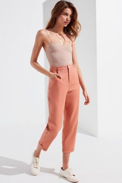 UO Grace Linen Cropped Pant - Pink 12 at Urban Outfitters